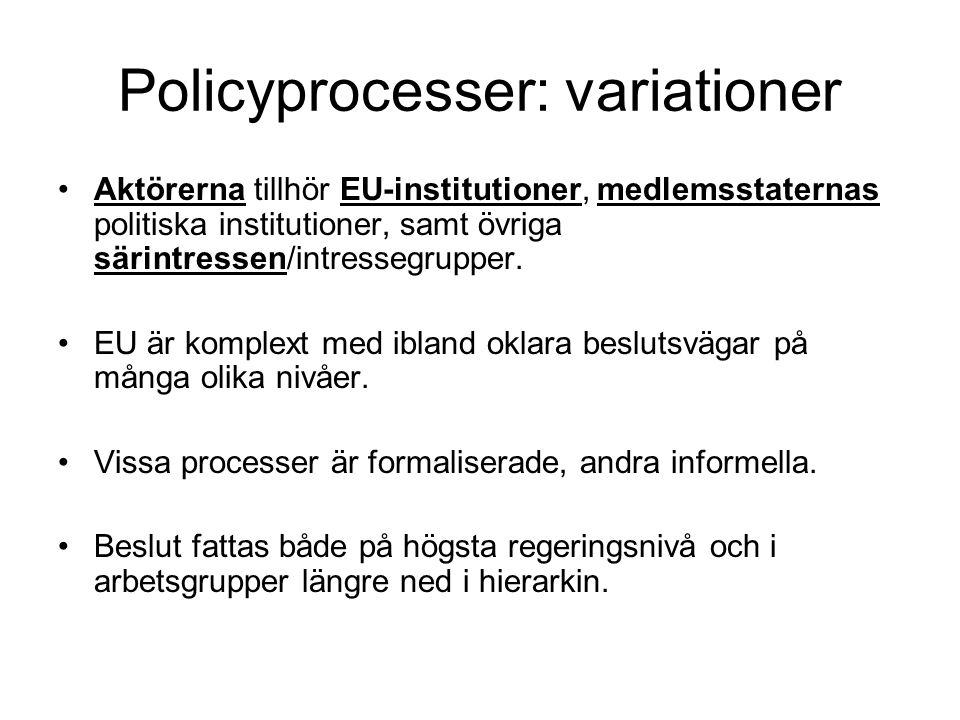 Policyprocesser: variationer Aktörerna tillhör EU-institutioner, medlemsstaternas politiska institutioner, samt övriga särintressen/intressegrupper.