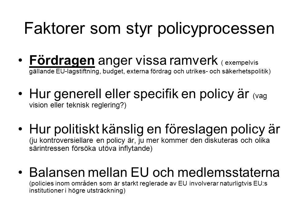 Faktorer som styr policyprocessen Fördragen anger vissa ramverk ( exempelvis gällande EU-lagstiftning, budget, externa fördrag och utrikes- och säkerhetspolitik) Hur generell eller specifik en policy är (vag vision eller teknisk reglering ) Hur politiskt känslig en föreslagen policy är (ju kontroversiellare en policy är, ju mer kommer den diskuteras och olika särintressen försöka utöva inflytande) Balansen mellan EU och medlemsstaterna (policies inom områden som är starkt reglerade av EU involverar naturligtvis EU:s institutioner i högre utsträckning)