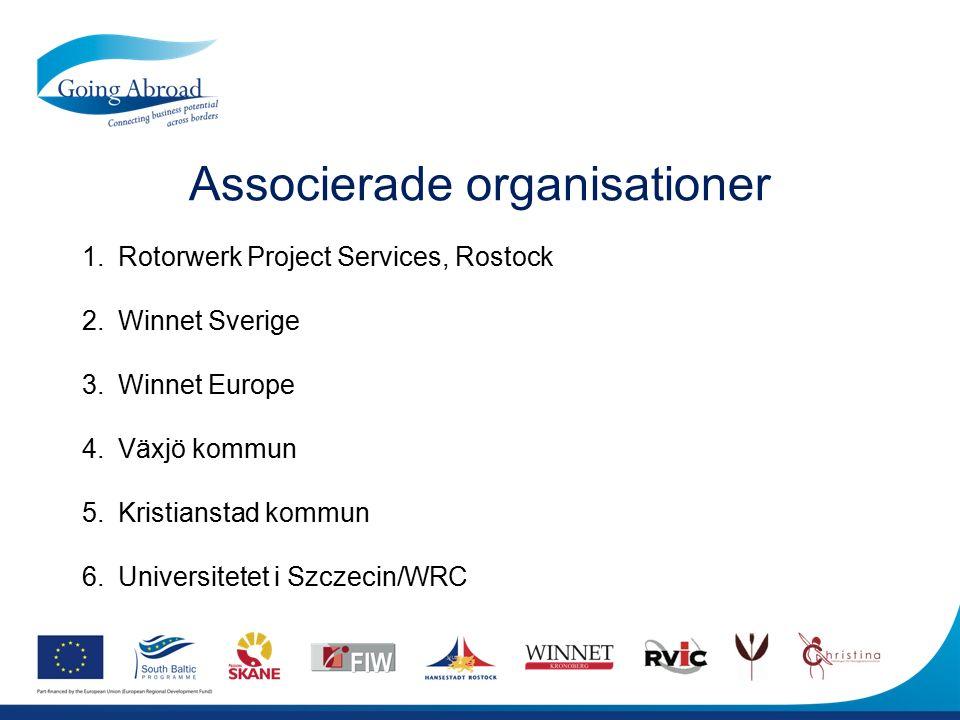 Associerade organisationer 1.Rotorwerk Project Services, Rostock 2.Winnet Sverige 3.Winnet Europe 4.Växjö kommun 5.Kristianstad kommun 6.Universitetet