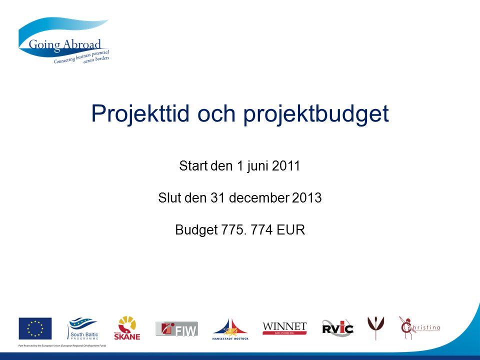 Projekttid och projektbudget Start den 1 juni 2011 Slut den 31 december 2013 Budget 775. 774 EUR