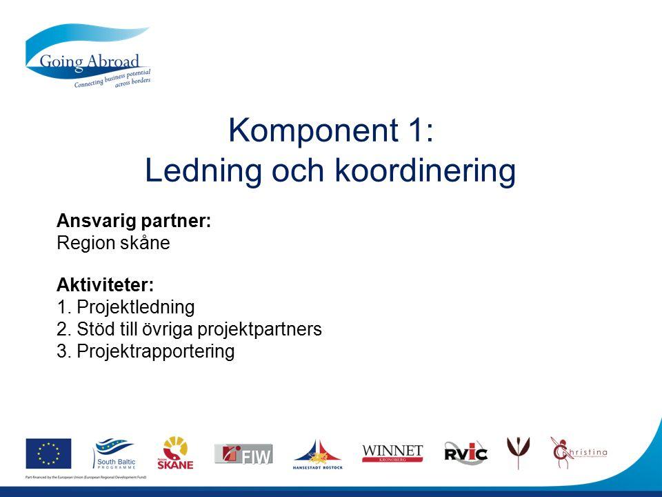 Komponent 1: Ledning och koordinering Ansvarig partner: Region skåne Aktiviteter: 1. Projektledning 2. Stöd till övriga projektpartners 3. Projektrapp