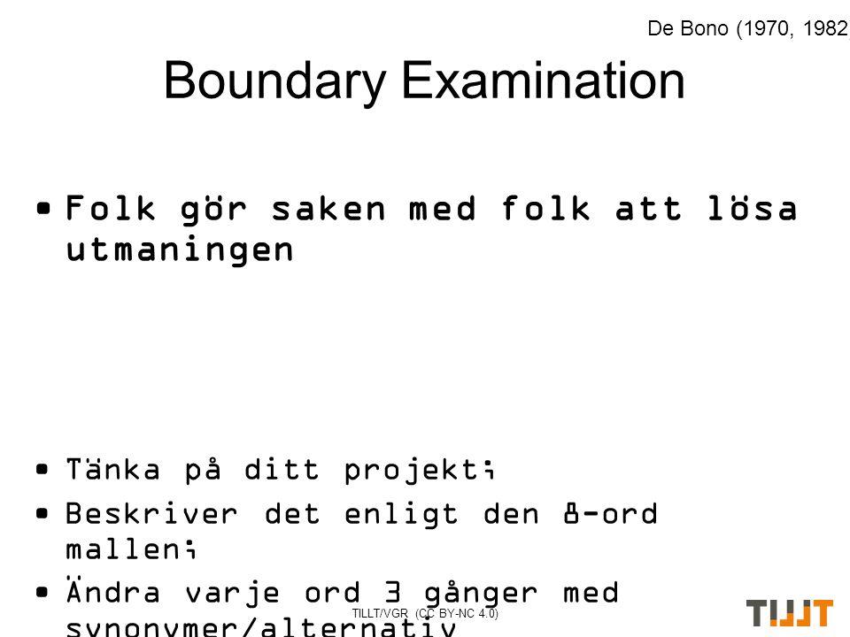 Boundary Examination Folk gör saken med folk att lösa utmaningen Tänka på ditt projekt; Beskriver det enligt den 8-ord mallen; Ändra varje ord 3 gånger med synonymer/alternativ De Bono (1970, 1982)