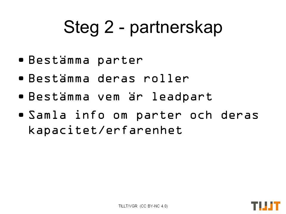 TILLT/VGR (CC BY-NC 4.0) Steg 2 - partnerskap Bestämma parter Bestämma deras roller Bestämma vem är leadpart Samla info om parter och deras kapacitet/erfarenhet
