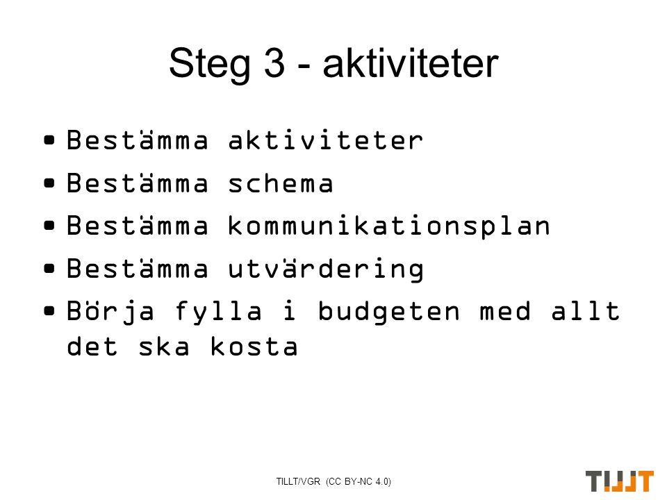 TILLT/VGR (CC BY-NC 4.0) Steg 3 - aktiviteter Bestämma aktiviteter Bestämma schema Bestämma kommunikationsplan Bestämma utvärdering Börja fylla i budgeten med allt det ska kosta