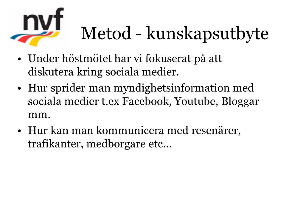 Metod - kunskapsutbyte Under höstmötet har vi fokuserat på att diskutera kring sociala medier. Hur sprider man myndighetsinformation med sociala medie