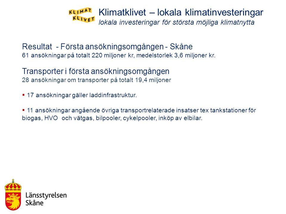 Resultat - Första ansökningsomgången - Skåne 61 ansökningar på totalt 220 miljoner kr, medelstorlek 3,6 miljoner kr. Transporter i första ansökningsom