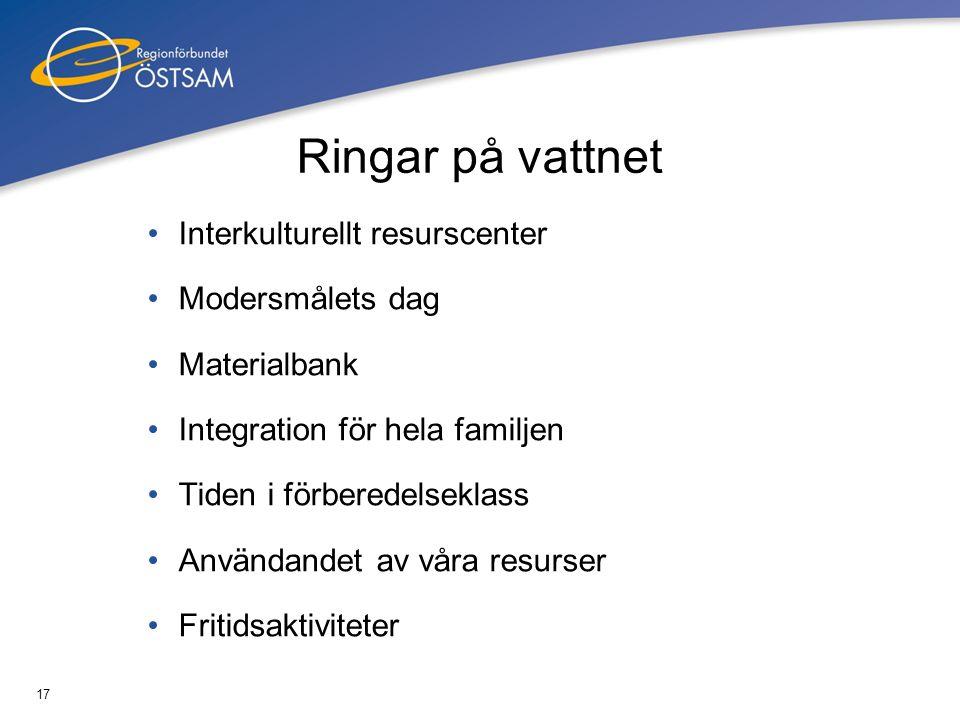 17 Ringar på vattnet Interkulturellt resurscenter Modersmålets dag Materialbank Integration för hela familjen Tiden i förberedelseklass Användandet av våra resurser Fritidsaktiviteter