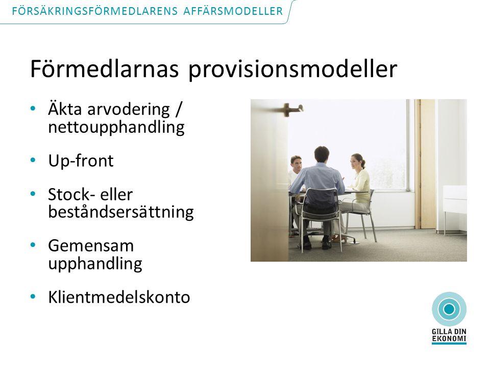 Förmedlarnas provisionsmodeller Äkta arvodering / nettoupphandling Up-front Stock- eller beståndsersättning Gemensam upphandling Klientmedelskonto FÖRSÄKRINGSFÖRMEDLARENS AFFÄRSMODELLER
