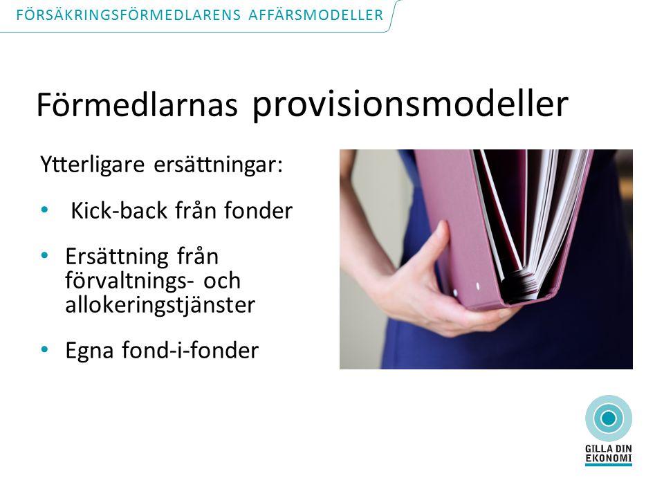 Förmedlarnas provisionsmodeller Ytterligare ersättningar: Kick-back från fonder Ersättning från förvaltnings- och allokeringstjänster Egna fond-i-fonder FÖRSÄKRINGSFÖRMEDLARENS AFFÄRSMODELLER
