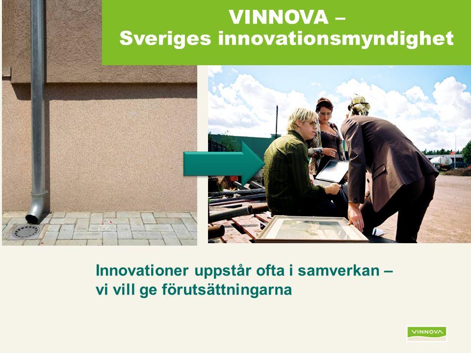 Infogad sidfot, datum och sidnummer syns bara i utskrift (infoga genom fliken Infoga -> Sidhuvud/sidfot) Innovationer uppstår ofta i samverkan – vi vill ge förutsättningarna VINNOVA – Sveriges innovationsmyndighet