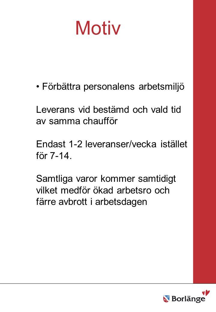 Borlänge stad Mellanrubrik Punkt Mellanrubrik Punkt Motiv Förbättra personalens arbetsmiljö Leverans vid bestämd och vald tid av samma chaufför Endast 1-2 leveranser/vecka istället för 7-14.