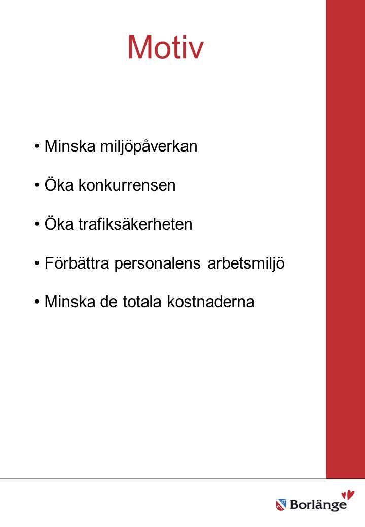 Borlänge stad Mellanrubrik Punkt Mellanrubrik Punkt Motiv Minska miljöpåverkan Öka konkurrensen Öka trafiksäkerheten Förbättra personalens arbetsmiljö Minska de totala kostnaderna