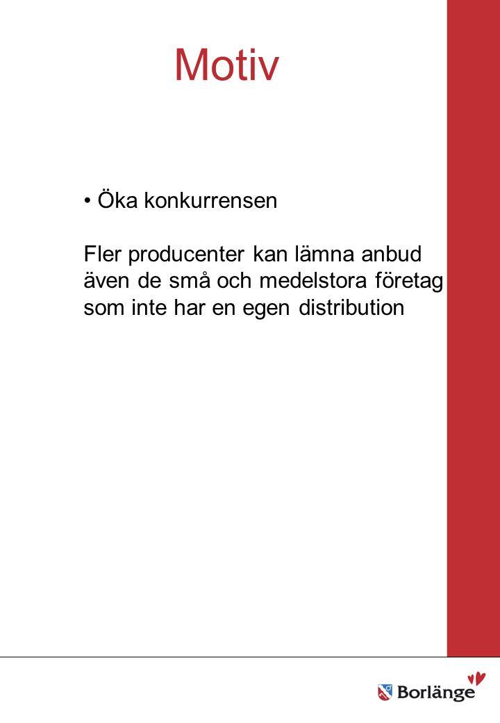 Borlänge stad Mellanrubrik Punkt Mellanrubrik Punkt Motiv Öka konkurrensen Fler producenter kan lämna anbud även de små och medelstora företag som inte har en egen distribution
