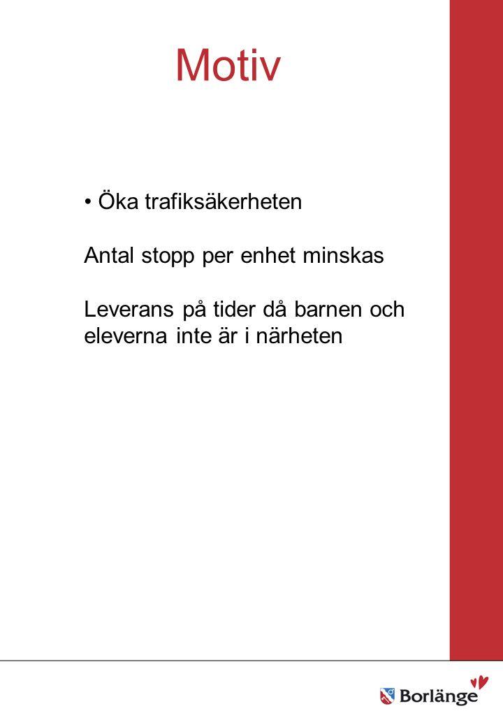 Borlänge stad Mellanrubrik Punkt Mellanrubrik Punkt Motiv Öka trafiksäkerheten Antal stopp per enhet minskas Leverans på tider då barnen och eleverna inte är i närheten