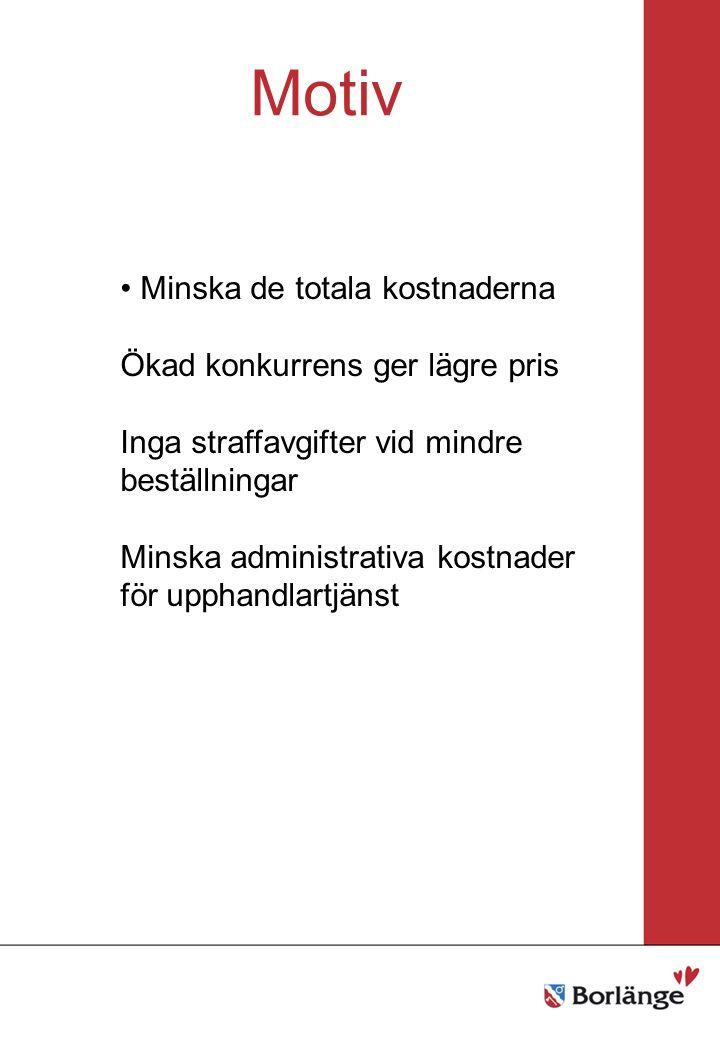 Borlänge stad Mellanrubrik Punkt Mellanrubrik Punkt Motiv Minska de totala kostnaderna Ökad konkurrens ger lägre pris Inga straffavgifter vid mindre beställningar Minska administrativa kostnader för upphandlartjänst