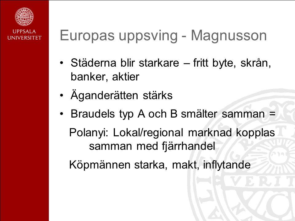 Europas uppsving - Magnusson Städerna blir starkare – fritt byte, skrån, banker, aktier Äganderätten stärks Braudels typ A och B smälter samman = Pola