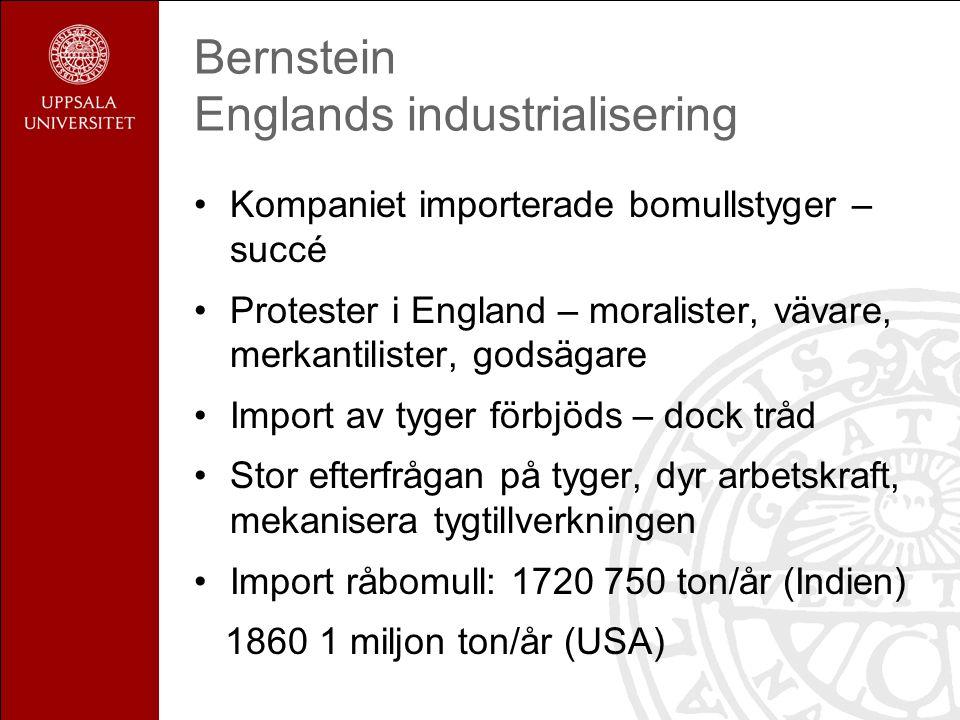 Bernstein Englands industrialisering Kompaniet importerade bomullstyger – succé Protester i England – moralister, vävare, merkantilister, godsägare Im