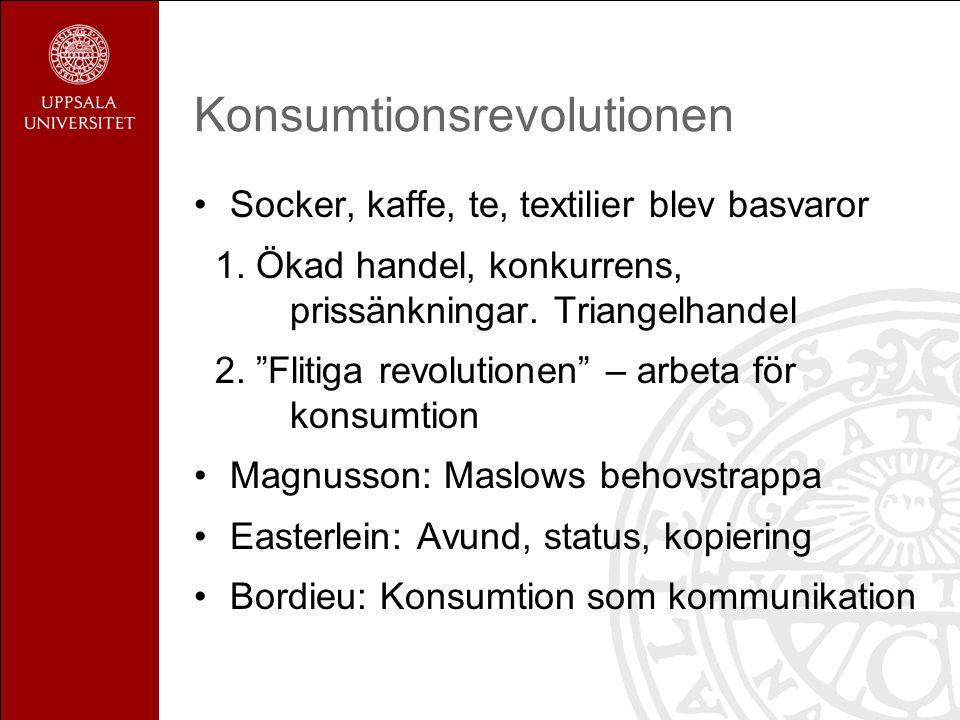 """Konsumtionsrevolutionen Socker, kaffe, te, textilier blev basvaror 1. Ökad handel, konkurrens, prissänkningar. Triangelhandel 2. """"Flitiga revolutionen"""