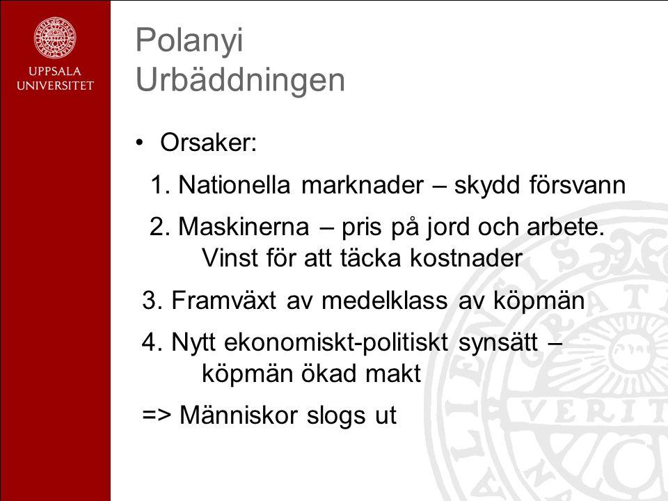 Polanyi Urbäddningen Orsaker: 1. Nationella marknader – skydd försvann 2. Maskinerna – pris på jord och arbete. Vinst för att täcka kostnader 3. Framv