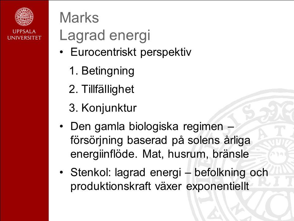 Marks Lagrad energi Eurocentriskt perspektiv 1. Betingning 2. Tillfällighet 3. Konjunktur Den gamla biologiska regimen – försörjning baserad på solens