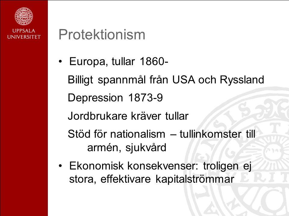 Protektionism Europa, tullar 1860- Billigt spannmål från USA och Ryssland Depression 1873-9 Jordbrukare kräver tullar Stöd för nationalism – tullinkom