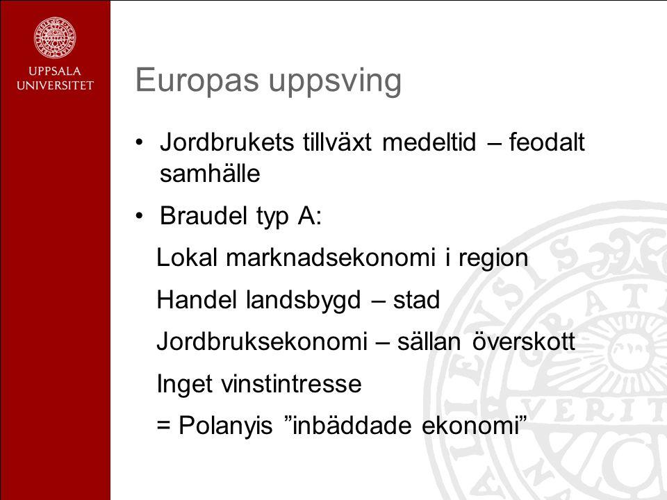 Europas uppsving Jordbrukets tillväxt medeltid – feodalt samhälle Braudel typ A: Lokal marknadsekonomi i region Handel landsbygd – stad Jordbruksekono