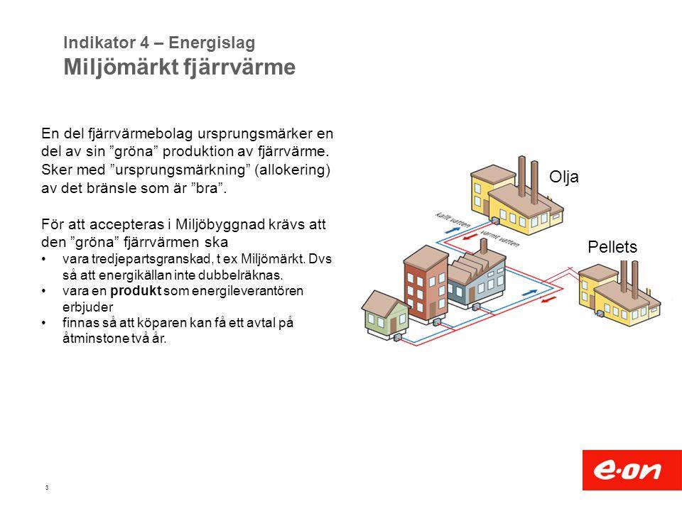 """3 Indikator 4 – Energislag Miljömärkt fjärrvärme En del fjärrvärmebolag ursprungsmärker en del av sin """"gröna"""" produktion av fjärrvärme. Sker med """"ursp"""