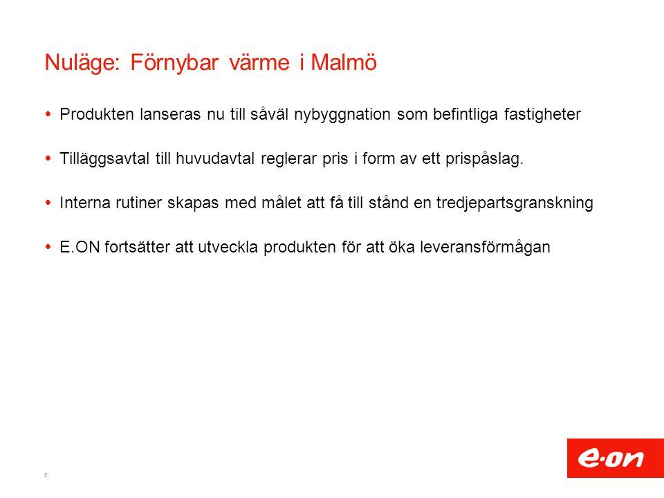 Nuläge: Förnybar värme i Malmö  Produkten lanseras nu till såväl nybyggnation som befintliga fastigheter  Tilläggsavtal till huvudavtal reglerar pris i form av ett prispåslag.