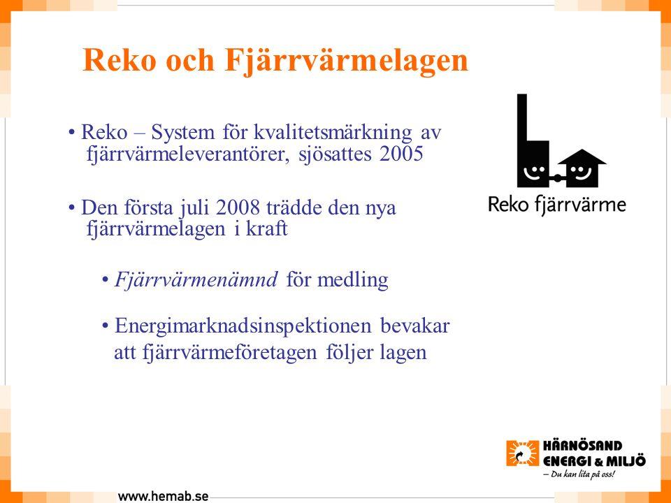 Reko och Fjärrvärmelagen Reko – System för kvalitetsmärkning av fjärrvärmeleverantörer, sjösattes 2005 Den första juli 2008 trädde den nya fjärrvärmelagen i kraft Fjärrvärmenämnd för medling Energimarknadsinspektionen bevakar att fjärrvärmeföretagen följer lagen