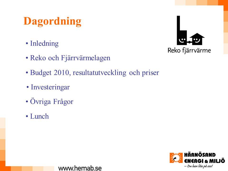 Dagordning Inledning Reko och Fjärrvärmelagen Budget 2010, resultatutveckling och priser Investeringar Övriga Frågor Lunch