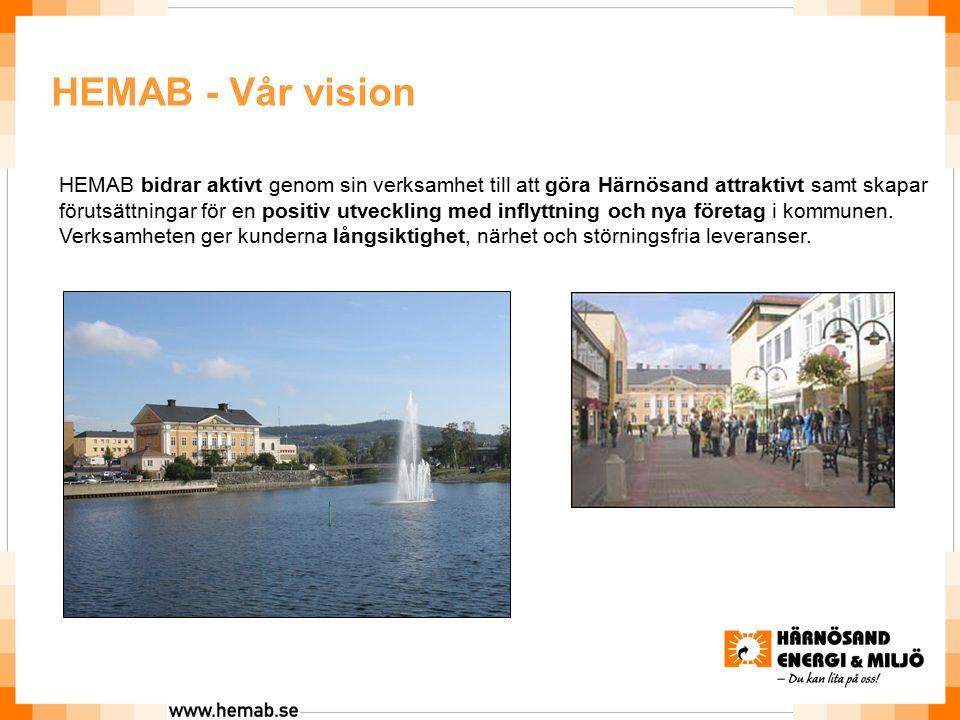 HEMAB - Vår vision HEMAB bidrar aktivt genom sin verksamhet till att göra Härnösand attraktivt samt skapar förutsättningar för en positiv utveckling med inflyttning och nya företag i kommunen.