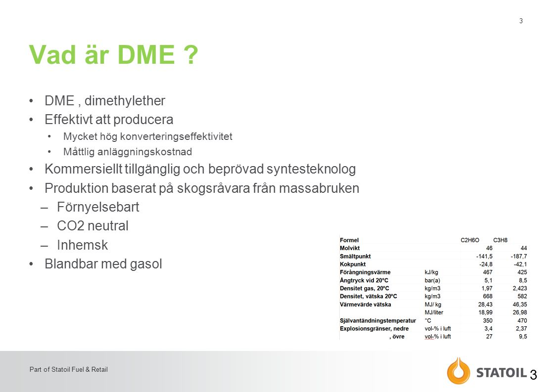 3 Part of Statoil Fuel & Retail Vad är DME .