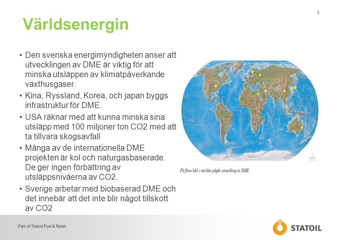 6 Part of Statoil Fuel & Retail DME – ett miljövänligt bränsle Enklast etern, egenskaper liknande propan Använt i Ostasien, framför allt Kina, som propanersättning främst i flask gas Mycket goda miljöegenskaper –Inte en växthusgas –Bryts ner snabbt I luft –Ingen partikel/sotbildning vid förbränning –Noll svavelinnehåll –Mycket låg växthusgasgenerering om den görs från svartlut Väl dokumenterat ur hälsosynpunkt –Låg toxicitet, inte cancerogent –Används allmänt i konsumentprodukter som t e x hårvårdsprodukter