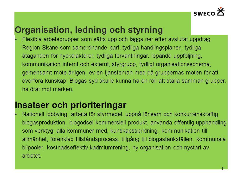 Organisation, ledning och styrning Flexibla arbetsgrupper som sätts upp och läggs ner efter avslutat uppdrag, Region Skåne som samordnande part, tydliga handlingsplaner, tydliga åtaganden för nyckelaktörer, tydliga förväntningar.