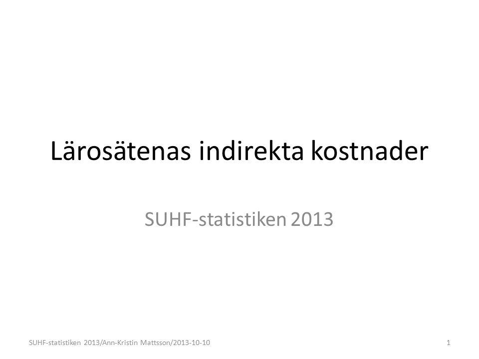 Lärosätenas indirekta kostnader SUHF-statistiken 2013 1SUHF-statistiken 2013/Ann-Kristin Mattsson/2013-10-10