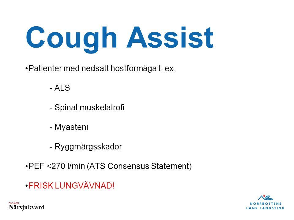 DIVISION Närsjukvård Cough Assist Patienter med nedsatt hostförmåga t.
