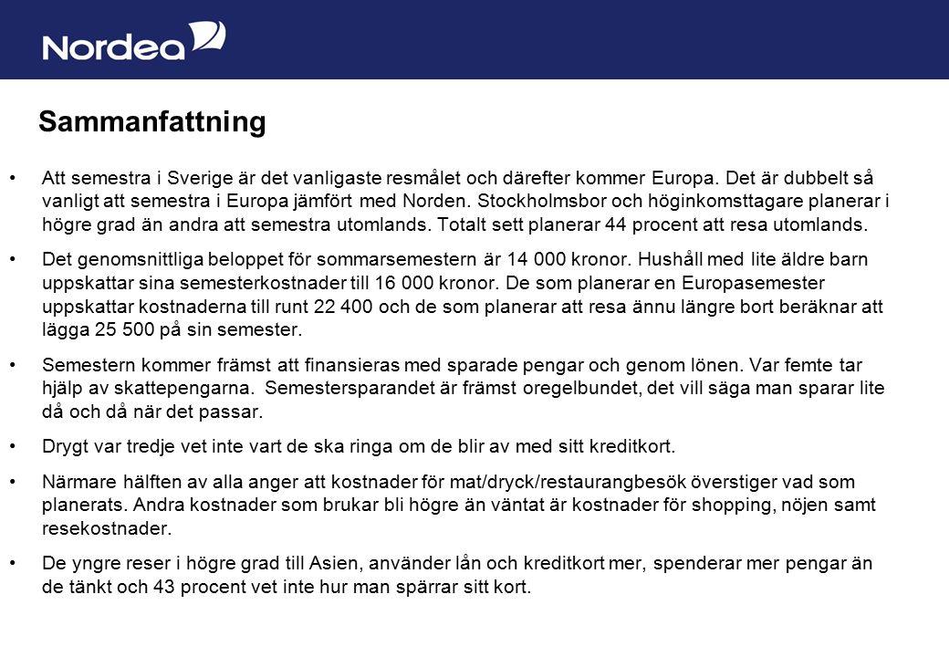 Sida 17 Sammanfattning Att semestra i Sverige är det vanligaste resmålet och därefter kommer Europa.