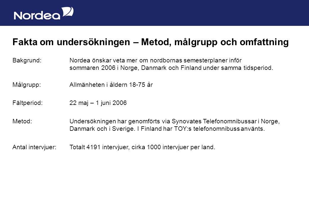 Sida 10 Fakta om undersökningen – Metod, målgrupp och omfattning Bakgrund: Nordea önskar veta mer om nordbornas semesterplaner inför sommaren 2006 i Norge, Danmark och Finland under samma tidsperiod.