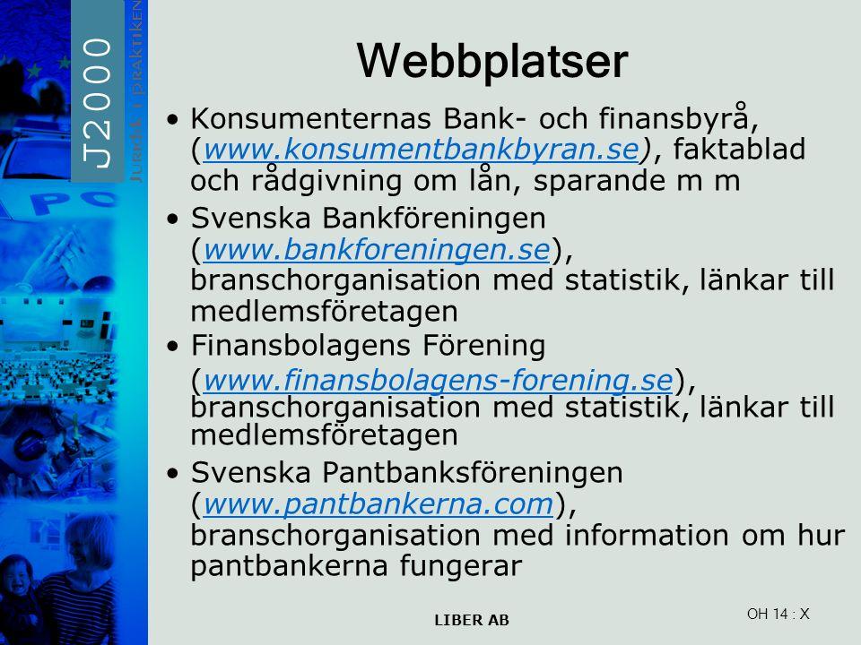 LIBER AB OH 14 Webbplatser Konsumenternas Bank- och finansbyrå, (www.konsumentbankbyran.se), faktablad och rådgivning om lån, sparande m mwww.konsumen