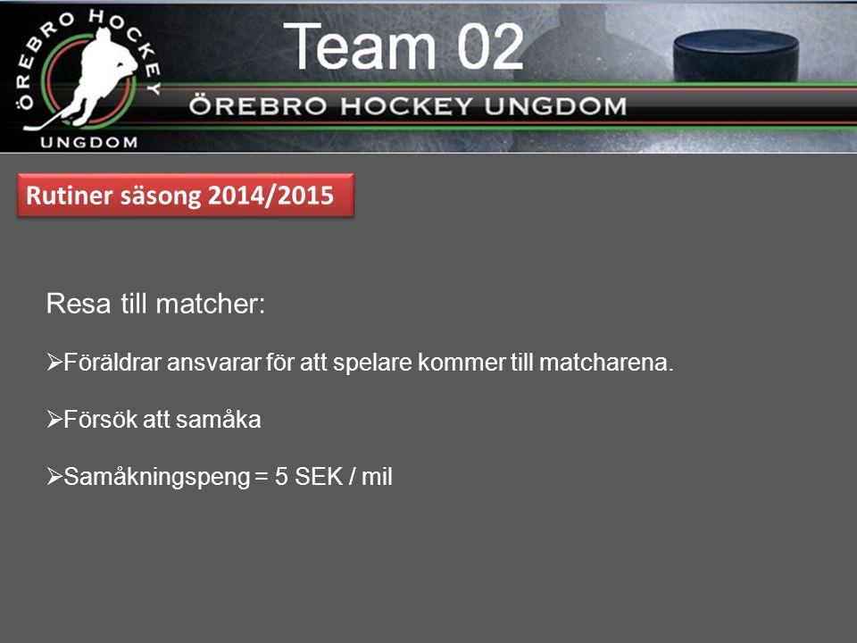 Rutiner säsong 2014/2015 Resa till matcher:  Föräldrar ansvarar för att spelare kommer till matcharena.
