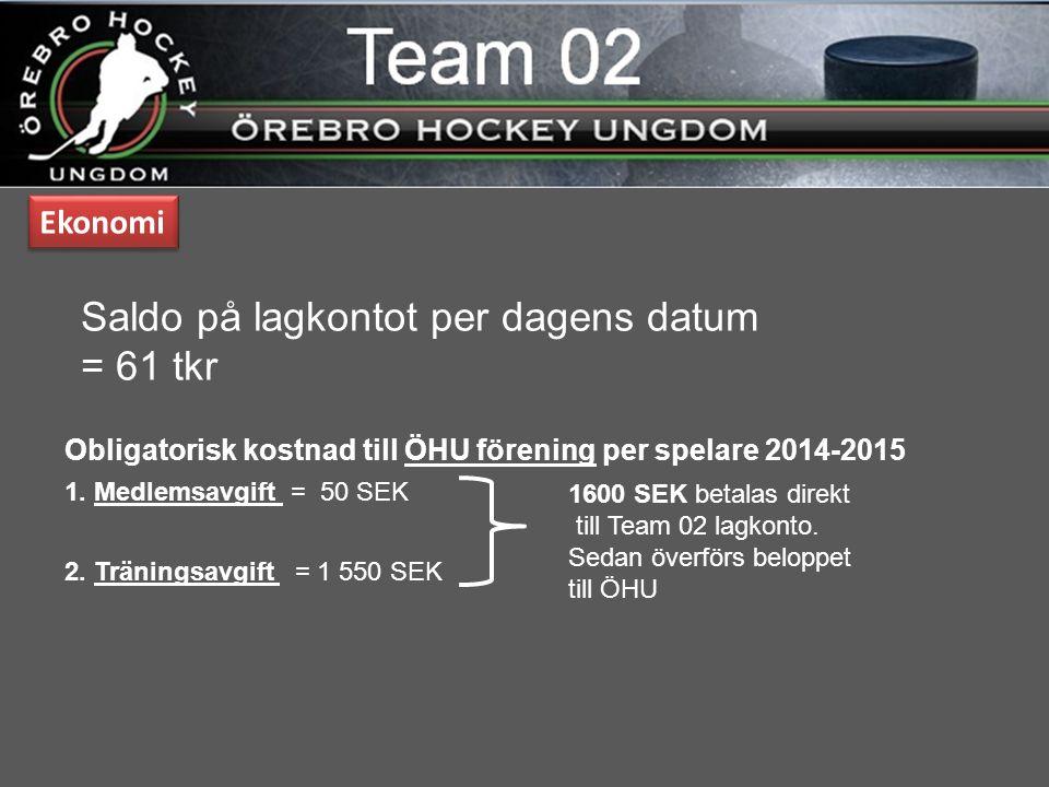 Obligatorisk kostnad till ÖHU förening per spelare 2014-2015 Ekonomi 1600 SEK betalas direkt till Team 02 lagkonto.