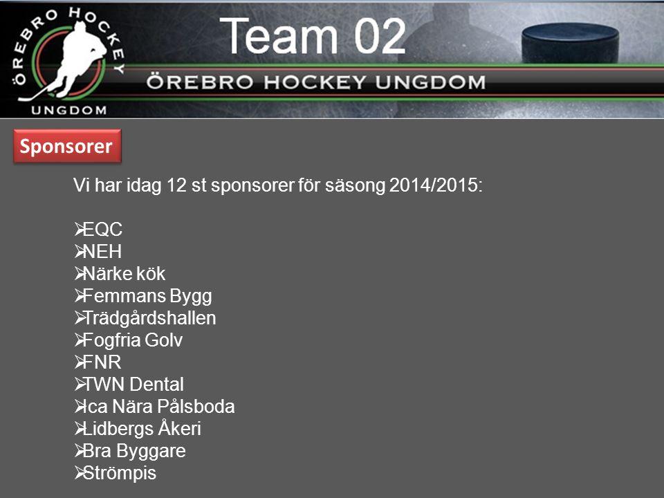 Vi har idag 12 st sponsorer för säsong 2014/2015:  EQC  NEH  Närke kök  Femmans Bygg  Trädgårdshallen  Fogfria Golv  FNR  TWN Dental  Ica Nära Pålsboda  Lidbergs Åkeri  Bra Byggare  Strömpis Sponsorer