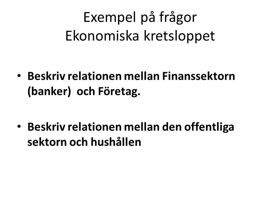 Exempel på frågor Ekonomiska kretsloppet Beskriv relationen mellan Finanssektorn (banker) och Företag.