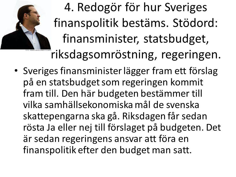 4. Redogör för hur Sveriges finanspolitik bestäms.