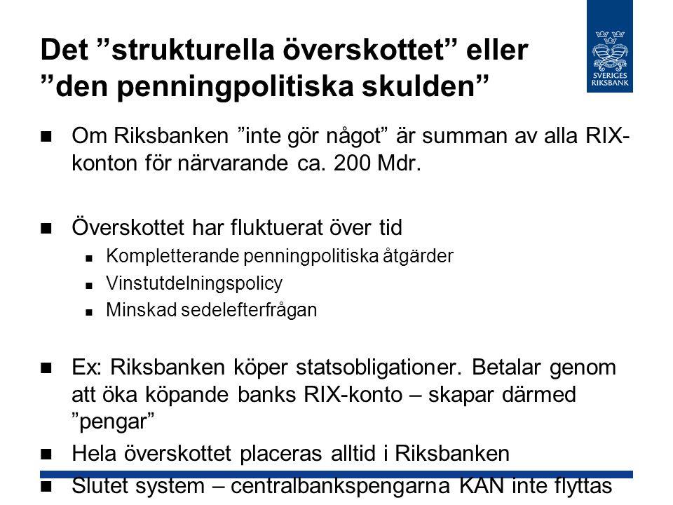 Det strukturella överskottet eller den penningpolitiska skulden Om Riksbanken inte gör något är summan av alla RIX- konton för närvarande ca.