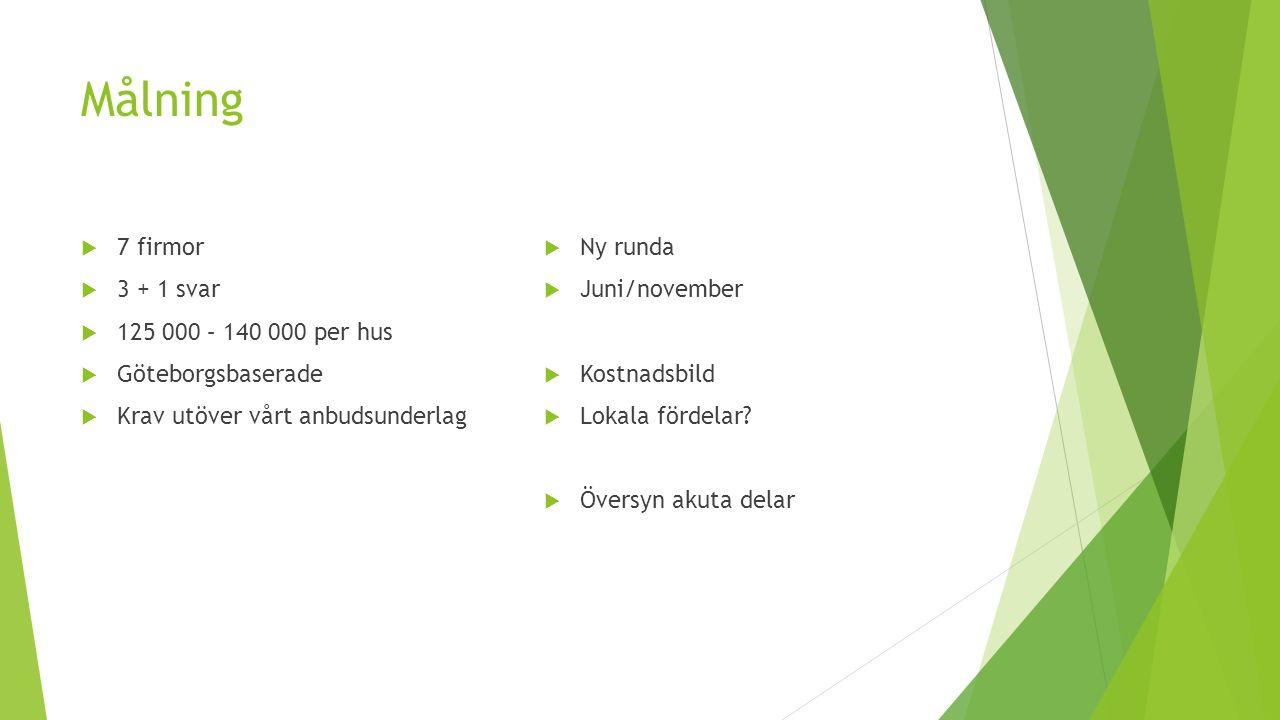Målning  7 firmor  3 + 1 svar  125 000 – 140 000 per hus  Göteborgsbaserade  Krav utöver vårt anbudsunderlag  Ny runda  Juni/november  Kostnad