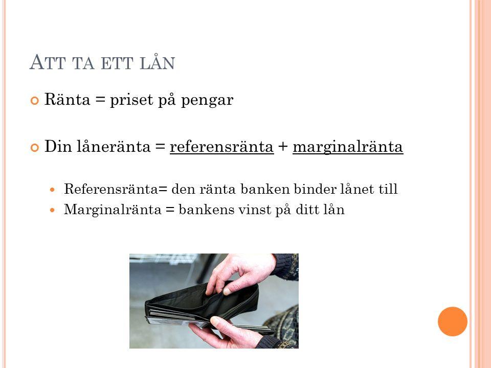 A TT TA ETT LÅN Ränta = priset på pengar Din låneränta = referensränta + marginalränta Referensränta= den ränta banken binder lånet till Marginalränta = bankens vinst på ditt lån