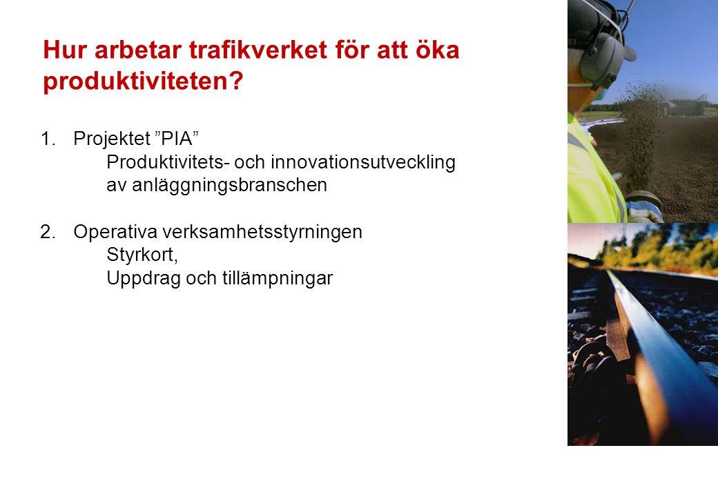 1.Projektet PIA Produktivitets- och innovationsutveckling av anläggningsbranschen 2.Operativa verksamhetsstyrningen Styrkort, Uppdrag och tillämpningar Hur arbetar trafikverket för att öka produktiviteten