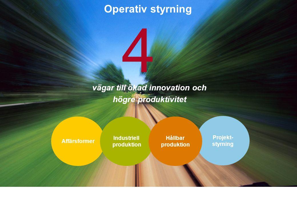 vägar till ökad innovation och högre produktivitet 4 Projekt- styrning Affärsformer Industriell produktion Hållbar produktion Operativ styrning