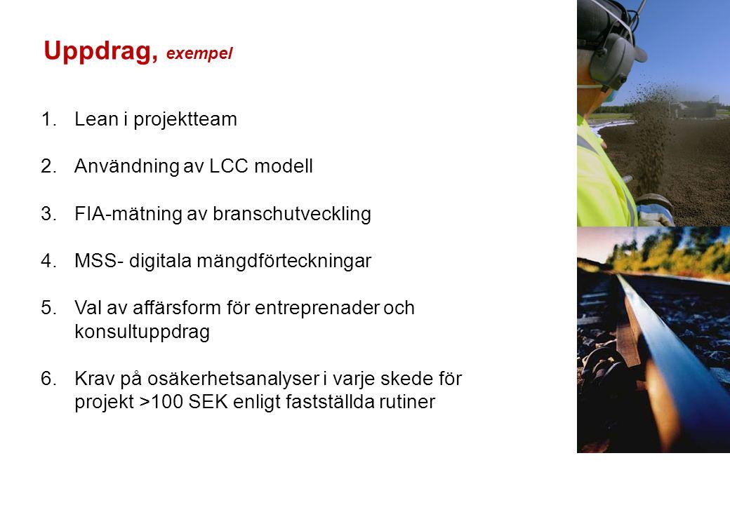 1.Lean i projektteam 2.Användning av LCC modell 3.FIA-mätning av branschutveckling 4.MSS- digitala mängdförteckningar 5.Val av affärsform för entreprenader och konsultuppdrag 6.Krav på osäkerhetsanalyser i varje skede för projekt >100 SEK enligt fastställda rutiner Uppdrag, exempel